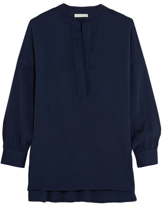 Vince - Stretch-silk Blouse - Navy $295 thestylecure.com