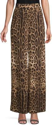 Dolce & Gabbana Animal-Print Wide-Leg Pants