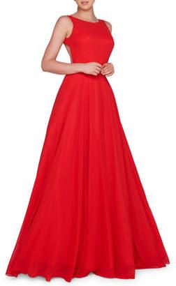 Mac Duggal Ieena for High-Neck Sleeveless Open-Back Chiffon Gown with Train