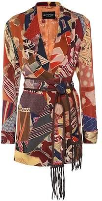 Etro Patchwork-printed satin jacket