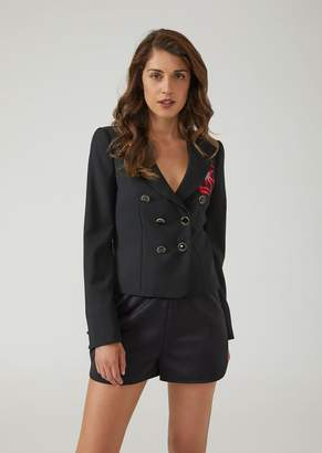 Emporio Armani Double-Breasted Jacket In Stretch Wool With Contrasting Embroidery
