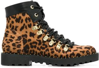Twin-Set leopard print lace-up boots