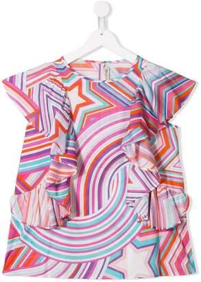Emilio Pucci Junior TEEN abstract print ruffle top