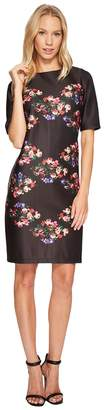 Taylor 3/4 Sleeve Placed Floral Print Shift Women's Dress