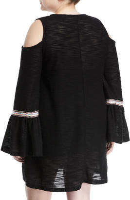 Kerrick Geometric-Embroidered Cold-Shoulder Knit Dress, Plus Size