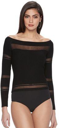 Women's Jennifer Lopez Luxe Essentials Off-the-Shoulder Bodysuit $58 thestylecure.com