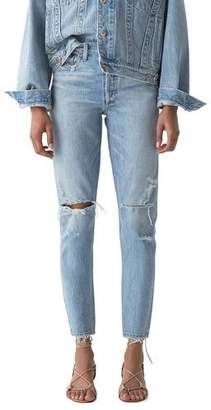 A Gold E AGOLDE Jaime High-Rise Classic Jeans with Rip