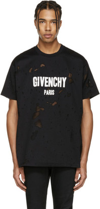 Givenchy Black Destroyed Logo T-Shirt $745 thestylecure.com