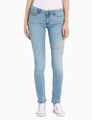 Calvin Klein ultimate skinny light blue destructed jeans