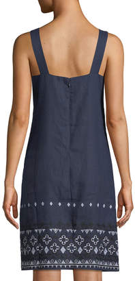 Neiman Marcus Linen Embroidered-Hem Shift Dress