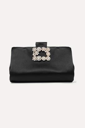 Roger Vivier Crystal-embellished Satin Clutch - Black