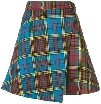House of Holland tartan mini wrap skirt