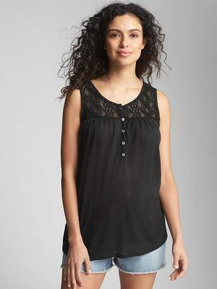 Gap Maternity Crochet-Detail Tank Top in Linen Jersey