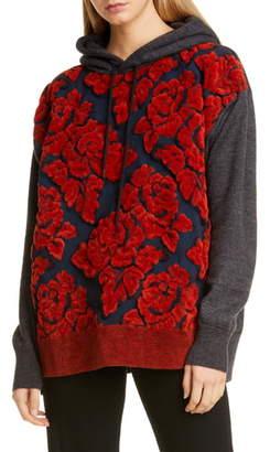 Junya Watanabe Wool Blend Chenille Jacquard Hooded Sweater