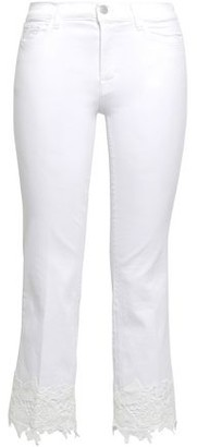 J Brand Cropped Appliqued High-rise Skinny Jeans