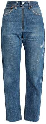 Re/Done By Zip-Detailed Distressed High-Rise Straight-Leg Jeans