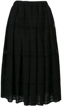 Comme des Garcons open embroidery midi skirt