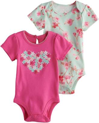 Baby Starters Baby Girl 2-pk. Heart Graphic & Floral Print Bodysuits