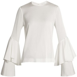 Galvan - Bell Sleeve Crepe Back Satin Blouse - Womens - White