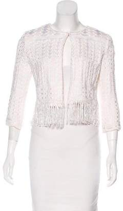 Couture St. John Fringe-Trimmed Knit Jacket