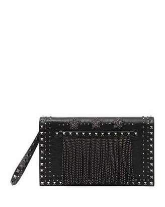 Valentino Rockstud Beaded Leather Wristlet Clutch Bag