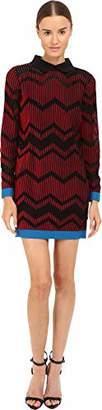 M Missoni Women's Bicolor Mesh Long Sleeve Zigzag Dress