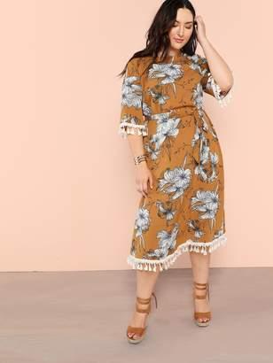 527f39f01e Shein Plus Tassel Detail Self Belted Floral Dress