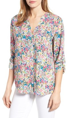 Women's Kut From The Kloth 'Jasmine' Floral Print Roll Sleeve Blouse $68 thestylecure.com