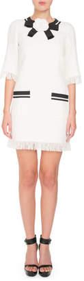 Andrew Gn Fringed 3/4-Sleeve Linen Dress