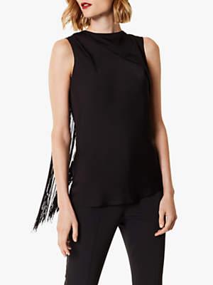 Karen Millen Fringed Sleeveless Top, Black