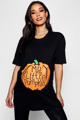 boohoo Maternity My Little Pumpkin Halloween T-Shirt