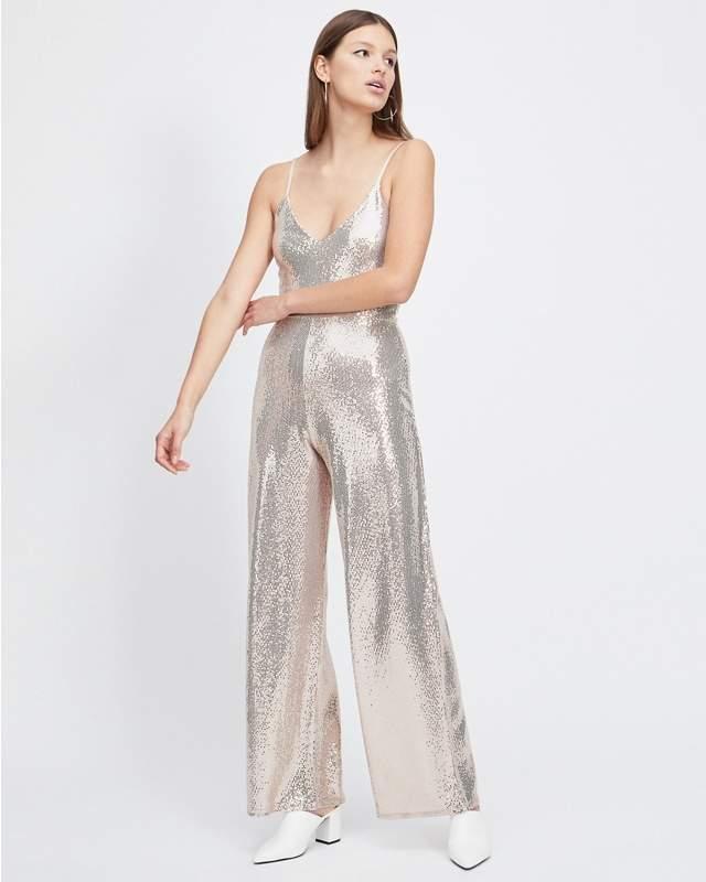 Champagne Sequin Culottes Jumpsuit