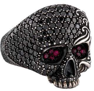 David Yurman Black Diamond & Ruby Waves Large Skull Ring