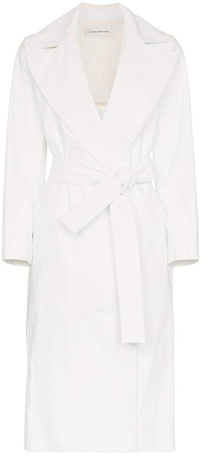 A Plan belted cotton blend trench coat