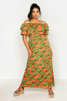 boohoo Plus Bright Tropical Print Bardot And Maxi Skirt Co-ord