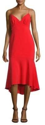 Theia Solid V-Neck Dress