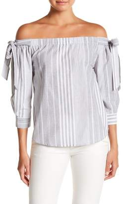 Always & Forever Striped Tie Sleeve Off-the-Shoulder Blouse