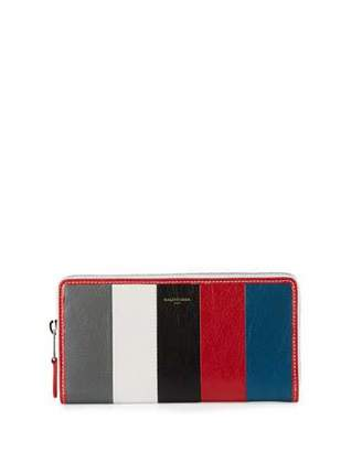 Balenciaga Bazar Zip-Around Continental Wallet, Gray/White/Black/Red/Blue (Gris/Blanc/Noir/Rouge/Bleu)