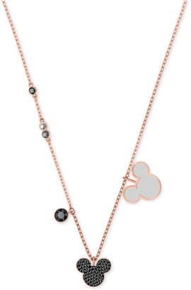 "Swarovski Rose Gold-Tone Crystal & Stone Mickey Mouse 16-1/2"" Pendant Necklace"