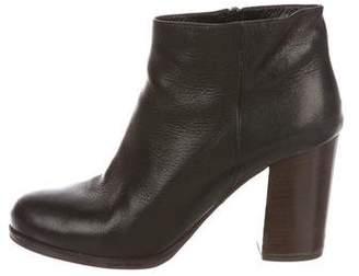 Prada Leather Round-Toe Booties