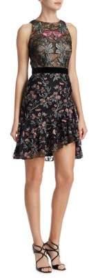 ML Monique Lhuillier Floral Asymmetric Fit-&-Flare Dress