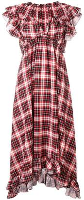 MSGM check empire-line ruffled dress