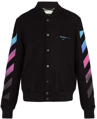 Off-white - Diagonal Gradient Print Wool Blend Varsity Jacket - Mens - Black