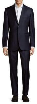 Saks Fifth Avenue Checkered Dark Wool Suit