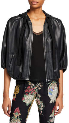 RED Valentino Zip-Front Hooded Leather Jacket