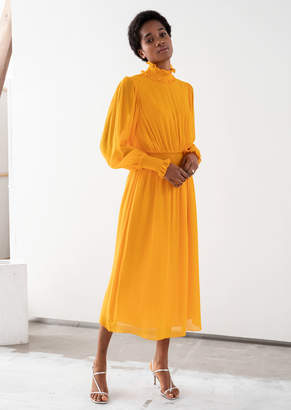 And other stories High Neck Ruched Midi Dress