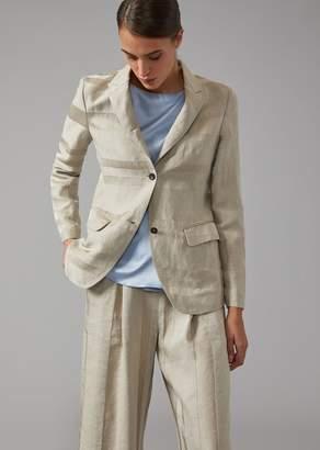Giorgio Armani Striped Linen Blend Jacket