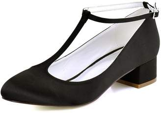 ElegantPark FC1616 Women Closed Toe Chunky Heel T-Strap Pumps Satin Evening Wedding Dress Shoes US 10