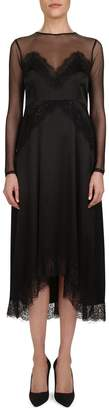 The Kooples Lace-Trimmed Silk A-Line Dress
