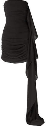 Semsem Strapless Draped Ruched Chiffon Mini Dress - Black